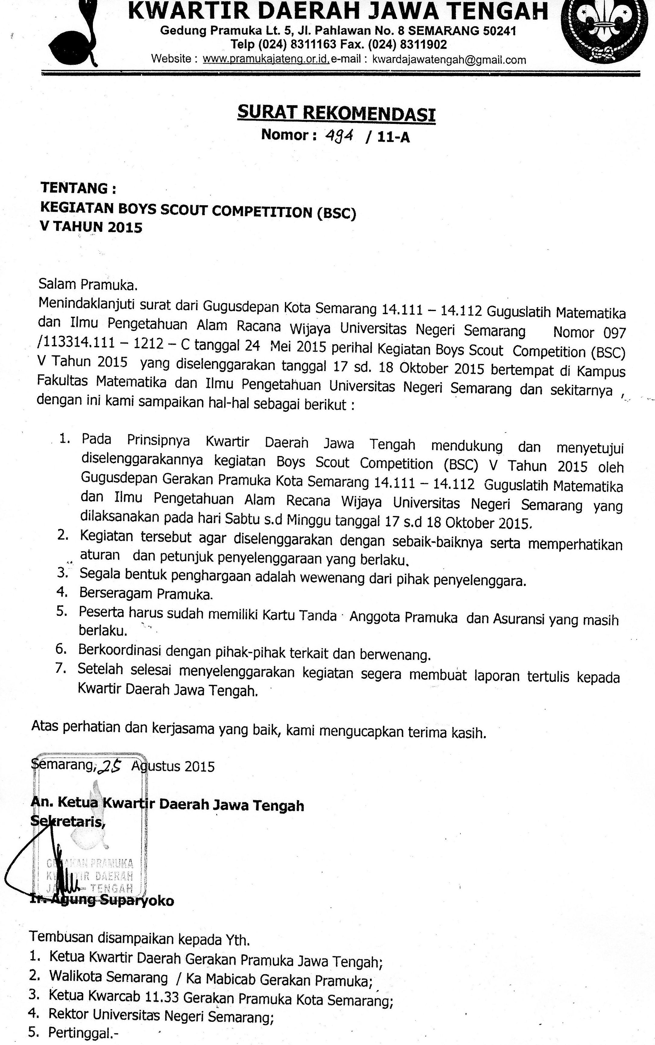 Surat Rekomendasi Kegiatan Bsc V Kwarda Jawa Tengah